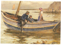 Fisherfolk at Staithes by  Robert Jobling