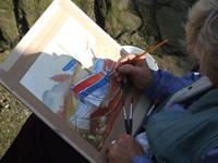 Artist at work at Staithes Art School
